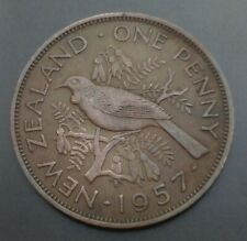 New Zealand 1 Penny 1957. KM#24.2. One Cent coin. Elizabeth II. Tui Bird.