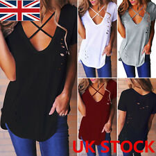 UK Womens Summer Blouse Top Short Sleeve Ladies Casual V Neck T-Shirt Loose Tops
