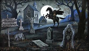 14x8 PRINT OF PAINTING RYTA HALLOWEEN SLEEPY HOLLOW HEADLESS HORSEMAN TOMBSTONE