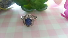 Beautiful Blue Gems White Czs Flower Ring 925 Sterling Silver * Size 5 * C837