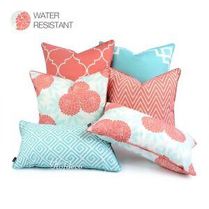 Hofdeco Indoor Outdoor Cushion Cover WATER RESISTANT Spring Garden Aqua Coral
