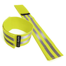 2 x Yellow Reflective Hi-Vis Armbands Ankle Straps Adjustable Running Cycling