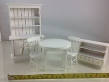 Dollhouse Miniature Furniture Dining White Wood Set Cabient Table Shelf 1:12