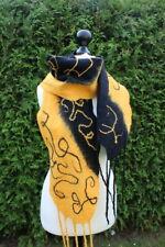 Filzschal,Stola, schwarz-gelbt, Filzwolle