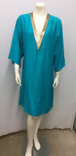 LA PERLA DRESS TURQUOISE BLUE GOLD SEQUIN VERY COMFORTABLE SIZE 42 SIZE 6