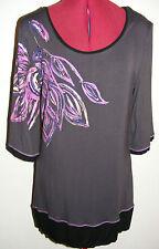 Sz XL 14 Julia Bergovich gorgeous viscose patterned 3/4 sleeve top
