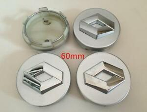 4x60mm RENAULT Grey Wheel Center Caps Logo Emblem Badge Hub Caps Rim Caps