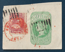 1870 UK BRITAIN VICTORIA STAMP RARE RED DOUBLE RING CANCEL, GREAT ON-PAPER PIECE