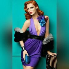 NWT Bebe purple black belt deep v neck twoo tone open back sexy top dress XS 0 2