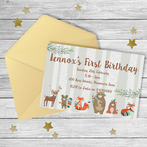 WOODLAND TRIBAL Animals FIRST Birthday Invitation {Digital File}