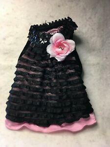 FAB DOG FANCY BLACK SEQUIN WITH PINK ROSE Party Dress Puppy/Dog XSMALL Lulu Pink