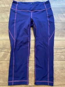 ATHLETA Fitted Purple Yoga Athletic crossFIT Capri Leggings Pants womens Medium