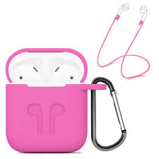 Strap Holder & Pink Silicone Rubber Case Cover For Apple Airpods Accessories