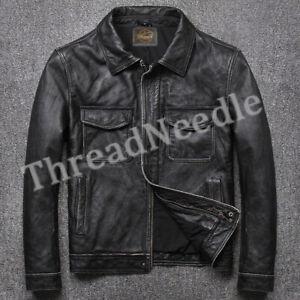 Men's Biker Flap Pocket Vintage Style Motorcycle Black Cow Hide Leather Jacket