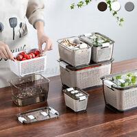 Kitchen Storage Box Container Food Storage Crisper Bin Airtight Lid Drain Basket
