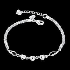 Silver Plated Women Charm Love Heart Beads Bracelet Bangle Women Jewelry