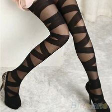 Black Thick Striped Tights Pantyhose Everyday, Office CLUB WEAR & Parties