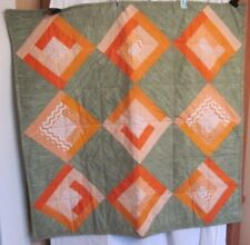 """SMALL HANDMADE QUILT IN ORANGE AND GREEN COTTON 39"""" SQUARE"""