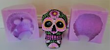 LARGE FLORAL SKULL HALLOWEEN SILICONE MOULD FOR CHOCOLATE, CLAY, CANDLES ETC