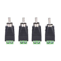 4 Pack Speaker Wire Cable to Audio Male RCA Connector Adapter Jack Plug