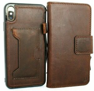 Genuine Dark Leather Case for iPhone XS Wallet Handmade Cover Detachable Holder
