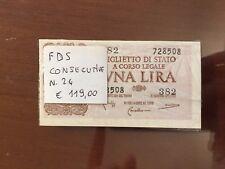 MAZZETTA 24 BANCONOTE CONSECUTIVE 1 LIRA LAUREATA conservazione FDS SABAUDA