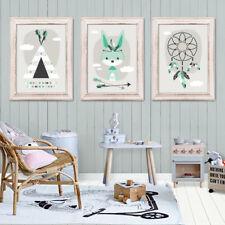 Bild Set Kunstdruck A4 Tribal Hase Traumfänger Tipi Kinderzimmer Deko Geschenk