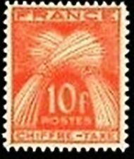 "FRANCE STAMP TIMBRE TAXE N° 76 "" GERBES 10F ROUGE-ORANGE "" NEUF xx LUXE"