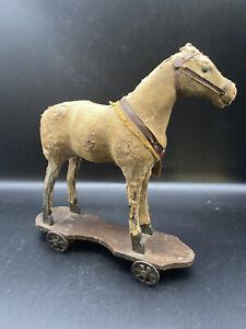 Antique Primitive Horse Pull Child's Toy Stuffed Wheels Folk Art