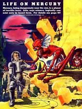 Revista Vintage fantásticas aventuras de la vida en el mercurio 1940 arte cartel CC3308