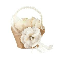 Rustic Wedding Flower Girl Basket Lace Petals Decorations