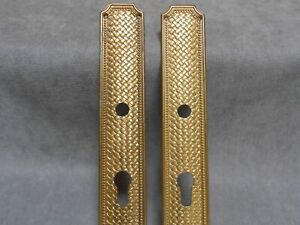 Pair of FRENCH Vintage Bronze door PUSH FINGER Plates ..FRANCE Styling