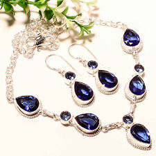 """BLUE SAPPHIRE QUARTZ WITH EARRING 925 SILVER JEWELRY NECKLACE 16-18"""""""