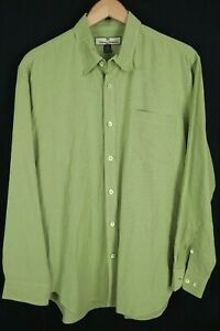 Tommy Bahama Mens sz Large Green Check Rayon Blend Long Sleeve Button up Shirt