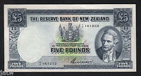 NEW ZEALAND P-160b. 5 Pound (1955-56). Wilson signature.. Prefix 1/Y..  aEF-EF