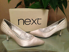 Ladies Next ivory satin court shoes Diamante trim UK 4 EU 37 BNIB bridal