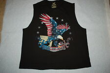 dc9e2f1608fe9 Mens BLACK MUSCLE TEE Patriotic GLORY AND HONOR Red White Blue EAGLE Size  2XL