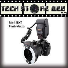 Meike MK-14EXT Flash anulare per macro i-TTL  AF n°7 + adattatori Nikon D80s D70