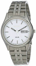 Seiko Men's SNE031 Solar White Dial Watch