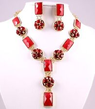 SALE Striking Red Austrian Rhinestones & Acrylic Stones  Necklace Set  Jewelry