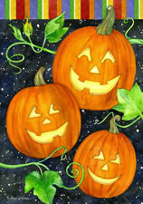 Halloween Happy Pumpkin Trio Jack O Lantern Fall Autumn Small  Flag