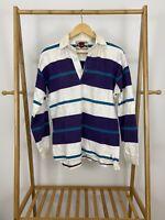 VTG Eddie Bauer Sportshop Striped Long Sleeve Polo Rugby Shirt Size S