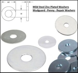 Penny Repair Washers Mudguard Steel Zinc Plated for Bolts M5 M6 M8 M10 M12