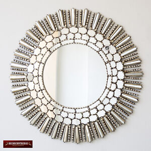 Handmade Silver Sunburst Room Decor Wood Large Decorative Round wall Mirror 40in