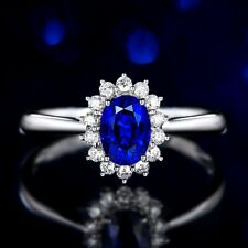 Classic Wedding Crystal Oval 18K White Gold Filled Sunflower Adjustable Ring