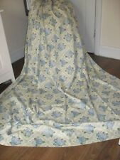 LARGE VINTAGE ROSE & TRELLIS CURTAINS 100% COTTON BLUE & VERY PALE YELLOW
