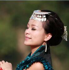 Hair Accessories tribal handmade miao silver leaf tassels comb headdress 1Piece