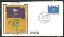Canada SC # 829 Canadian Flags - Alberta - FDC .Colorano Silk  Cachet