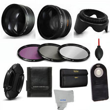 55MM WIDE ANGLE LENS + ZOOM LENS + REMOTE +3 FILTERS + WALLET FOR NIKON D3400