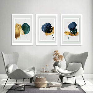 A4 Set of 3 Modern Wall Art Prints Living Room Bedroom Unframed Pictures Leafs